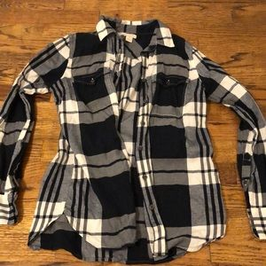 J Crew blue and white flannel